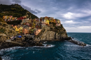Ominous clouds surround Manarola