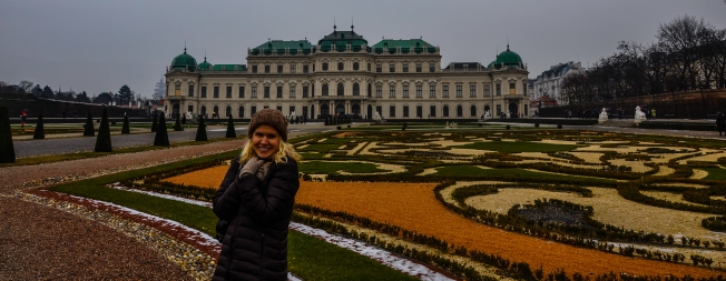 Trying to stay warm at Schloss Belvedere