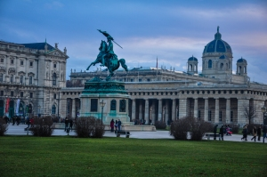 Lawn around Habsburg Palace with so many other elegant buildings surrounding