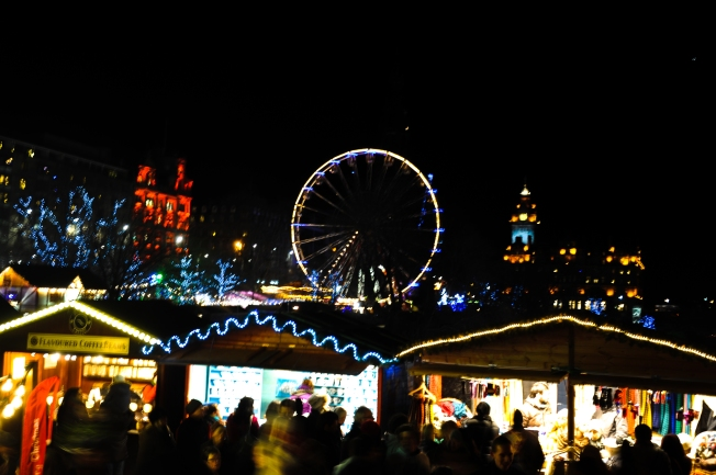 Saturday night at the German Christmas markets in Edinburgh