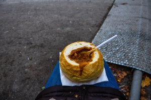 Goulash in a bread bowl