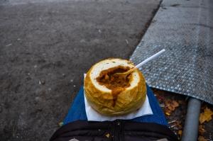 Goulash in a bread bowl