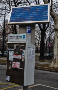 Solar powered parking machine in Vienna